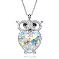 Jane Stone Friend Gifts Jewelries AnazoZ Heart Crystal Owl Pendant S925 Sterling Silver Heart of The Ocean Cute Owl Necklace