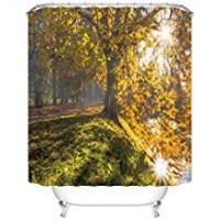 Uphome Shower Curtain Autumn natural landscape with trees and sunlight decorated bathroom, anti mould fabric waterproof shower curtain 60x72 IN