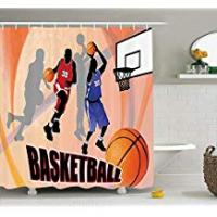 Uphome Shower Curtain guolinadeou Sports decoration shower curtain, basketball player abstract background, classic poster illustration, orange black 72x72 IN