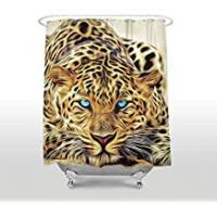Uphome Shower Curtain guolinadeou Blue eyed Leopard Print 72x72 IN