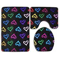 Uphome Shower Curtain Hearts and Love 3 Piece Traditional Bathroom Rugs Set Washable Mildew Bath Shower Mat U-Shaped Lid Toilet Floor