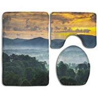 Uphome Shower Curtain Bath Mat 3 Piece Bathroom Rug Set,Sunset Over The Blue Ridge Mountains in Asheville, North Carolina Design Shower Mat and Toilet Cover, Non Slip and Extra Soft Toilet Kit, Anti Slippery Rug