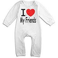 Customized Girl Friend Underwears I Love My Friends Long Sleeve Baby Romper Bodysuit Outfits Clothes