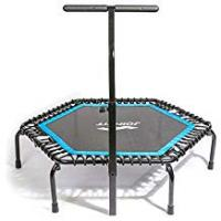 Foldable Trampoline With Stabilizing Bar Trampolines Lxn Silent Fitness Mini Blue with Adjustable Handrail Handle Bar – Indoor Rebounder for Adults – Best Urban Cardio Workout Home Trainer– Max Limit 330 lbs