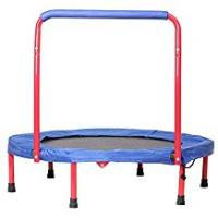Foldable Trampoline With Stabilizing Bar Trampolines Lxn 36-Inch Kids Folding with Handle Bar | Quiet and Safe Bounce | Supports Up To 110 Pounds
